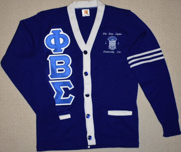 PBS Blue and White Cardigan w/Stripes (Twill Letters)