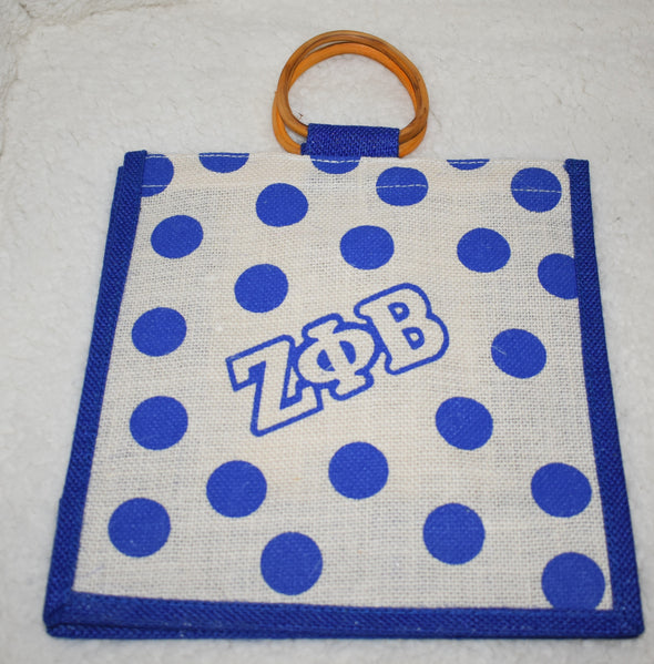 Zeta Phi Beta Polka Dot Jute Bag