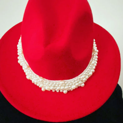 Brushed Velvet Trim Fedora with Pearls