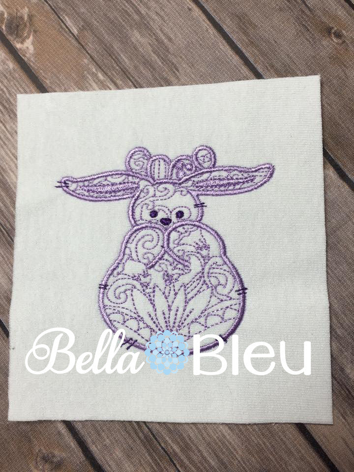 Easter Bunny Rabbit machine embroidery colorwork design