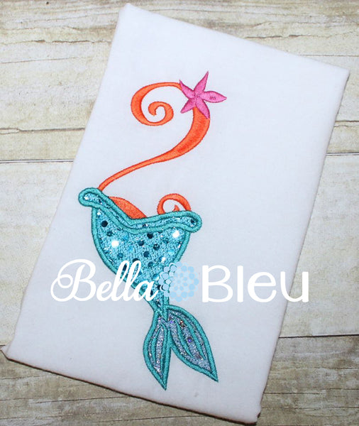 Number 2 #2 Mermaid tail machine applique embroidery design