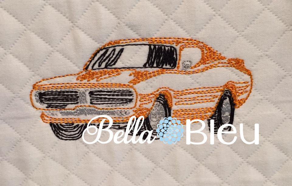 Redwork Colorwork Charger  Muscle Car Fathers Day Machine Embroidery Design
