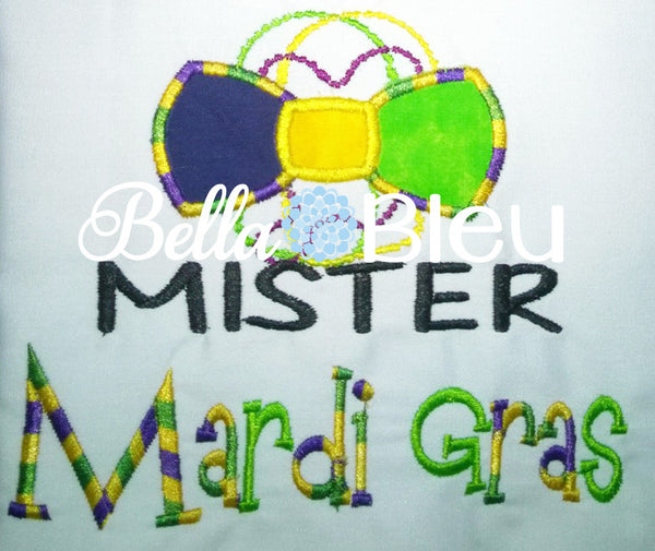 Mr Mister Mardi Gras Bow tie machine embroidery applique design