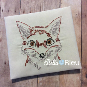 Arctic or Red Fox Animal machine colorwork embroidery design