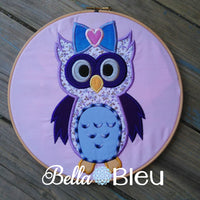 Adorable Girl Owl with Bow Machine Applique Embroidery Design