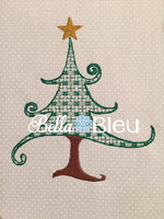 Christmas tree with star Motif Machine Embroidery Design