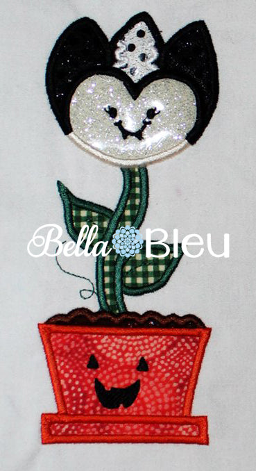 Halloween Scary Vampire Flower with Pumpkin pot Machine Applique Embroidery Design