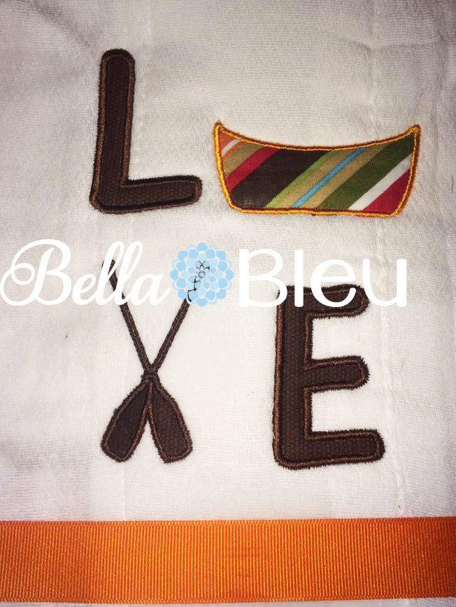 Canoe Love Camping machine embroidery applique design