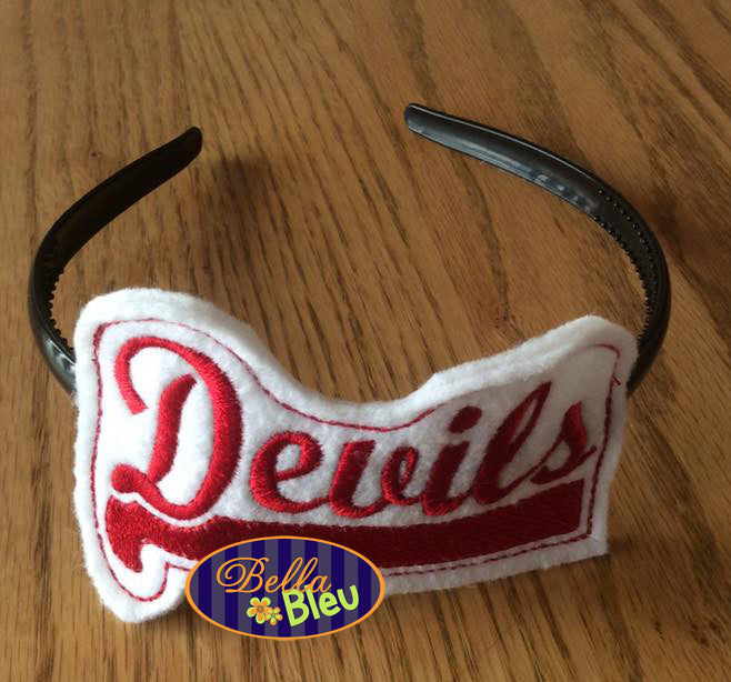 ITH in the hoop Devils Sports Headband Topper Slider machine embroidery