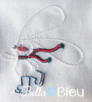 Quick Stitch Ice Skating Bunny Rabbit Embroidery design