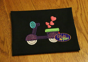 Valentine's Scooter Applique Embroidery Design