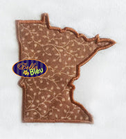 Minnesota State Applique Embroidery Design Monogram