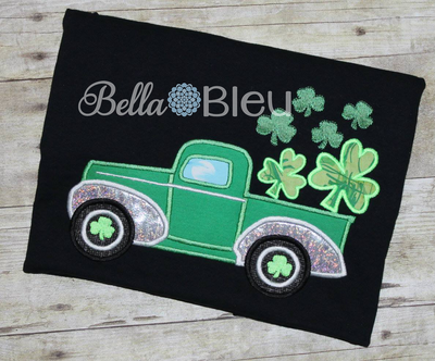 Vintage Classic Truck carrying a Shamrocks St Patricks Day applique