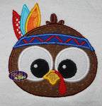 Adorable Thanksgiving Native American Indian Turkey Face Head Machine Applique Embroidery Designs Design