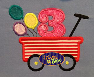 Little Red Wagon Third 3rd Birthday Balloons Machine Applique Embroidery Design