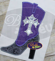 Sexy Cowboy Cowgirl Boots Gothic Cross Heels Applique Embroidery Designs Design Monogram