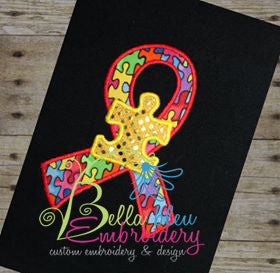 Autism Ribbon Puzzle Piece Machine Applique Embroidery Designs Design