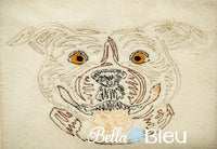 Beautiful Colorwork Redwork Pitbull Dog quick stitch