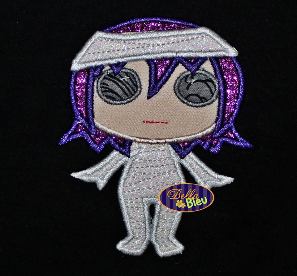 Halloween Zombie Mummy Girl Machine Applique Embroidery Design