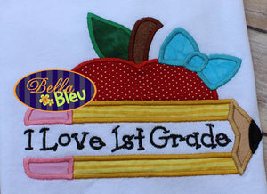 Back to School Split Chubby Pencil with Bow and Apple Applique Embroidery Design