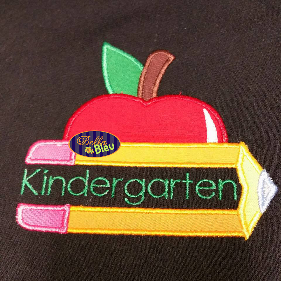 Back to School Split Chubby Pencil and Apple Applique Embroidery Design