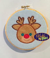 Christmas Rudolph the Red Nosed Reindeer Deer Machine Applique Embroidery Design