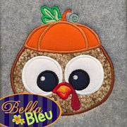 Adorable Thanksgiving Turkey Face Head with Pumpkin Hat Machine Applique Embroidery Designs Design