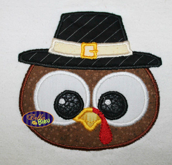 Adorable Thanksgiving Pilgram Boy Turkey Face Head Machine Applique Embroidery Designs Design