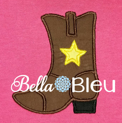 Western Boot Applique with star