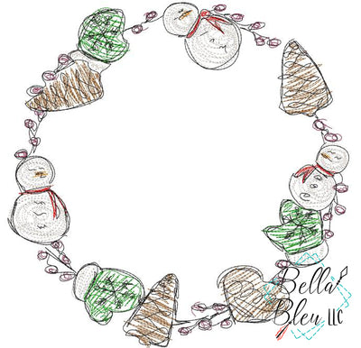 Christmas Cookie Wreath Scribble Sketch