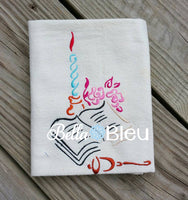 Christmas Redwork  Bible and Candle Religious Machine Applique Embroidery  Design