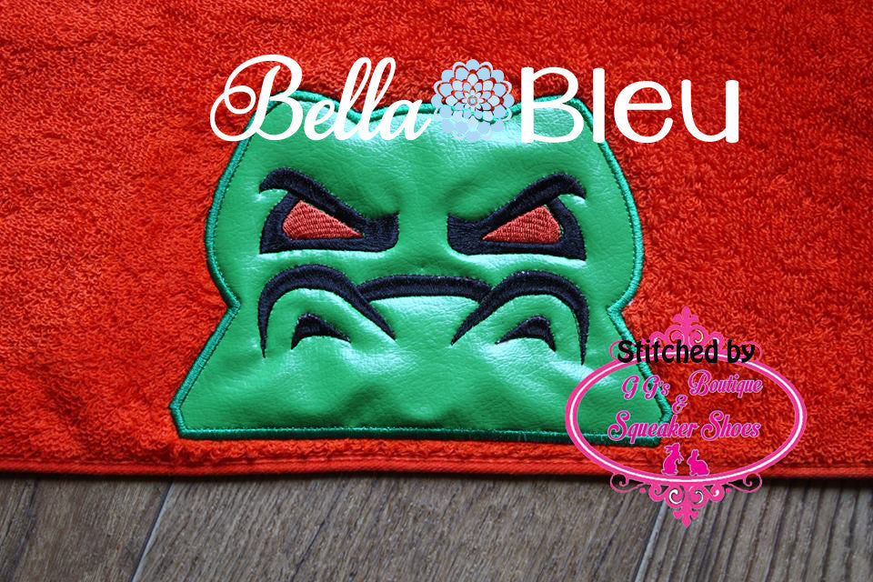 Gator Alligator Hooded Towel Topper Peeker Machine Applique Embroidery Designs or Tee