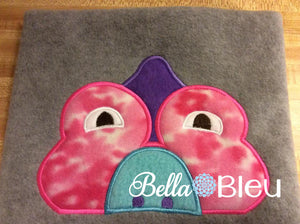Dino Hooded Towel Topper Peeker Machine Applique Embroidery Designs or Tee