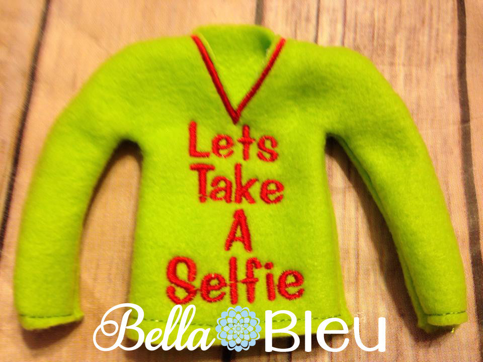 "ITH In The Hoop Elf ""Let's Take a Selfie"" Sweater Shirt Machine Embroidery Design"