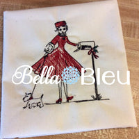 Retro 1950's Christmas Lady Walking Dog Embroidery Colorwork Design