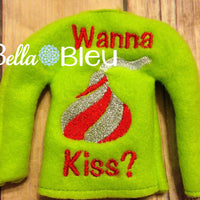 "ITH Elf ""Wanna Kiss""  Sweater Shirt Embroidery Design"