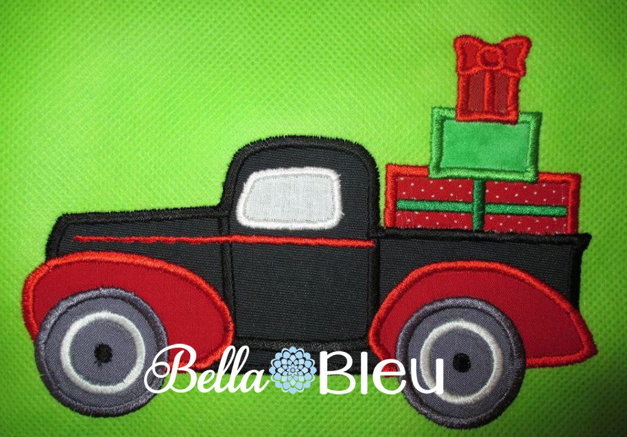Vintage Truck with Presents Machine Applique Embroidery Design