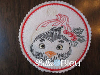 Beautiful Christmas Holiday Penguin quick stitch Colorwork Redwork
