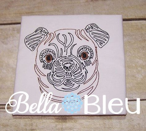 Beautiful Colorwork Redwork Pug Dog quick stitch