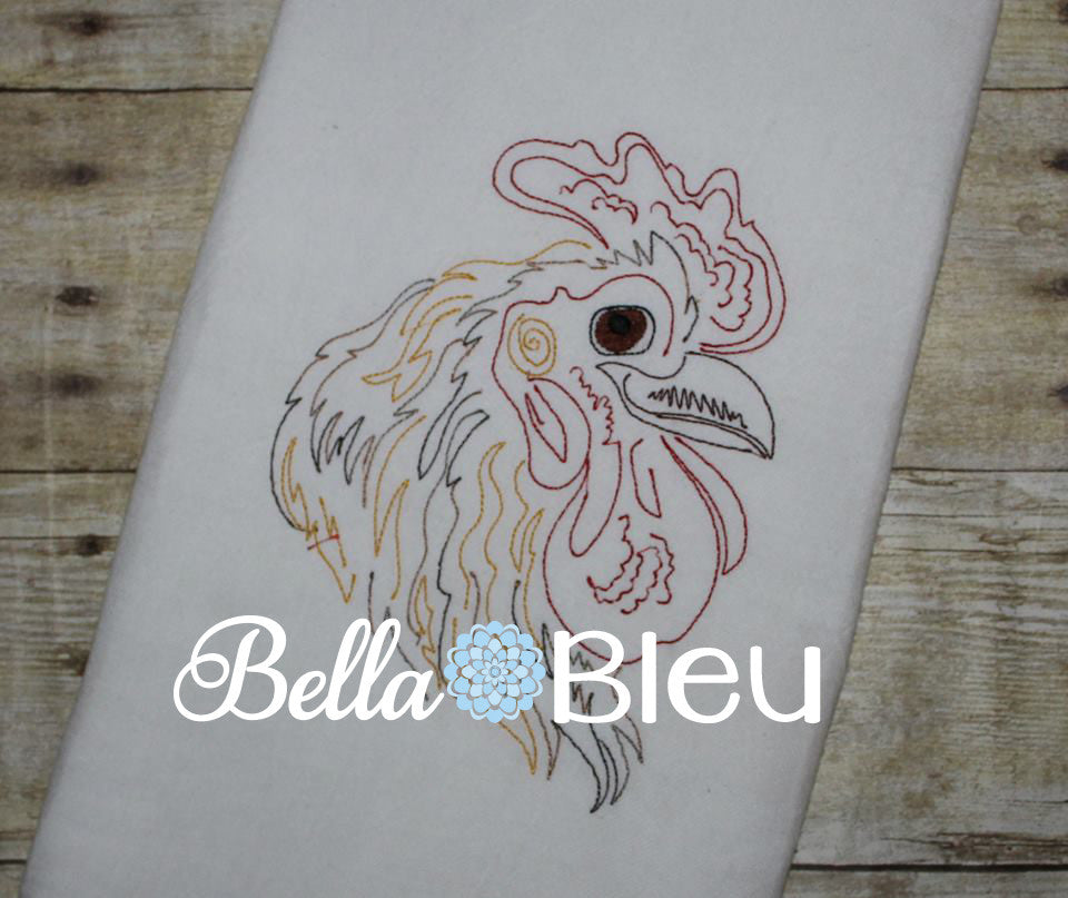 Rooster 2 Colorwork Machine Embroidery Design Perfect for kitchen towels