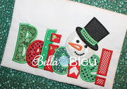 Frosty the Snowman Believe Machine Applique Embroidery Design