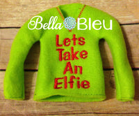 ITH In The Hoop Elf Let's Take an Elfie Sweater Shirt Embroidery Design