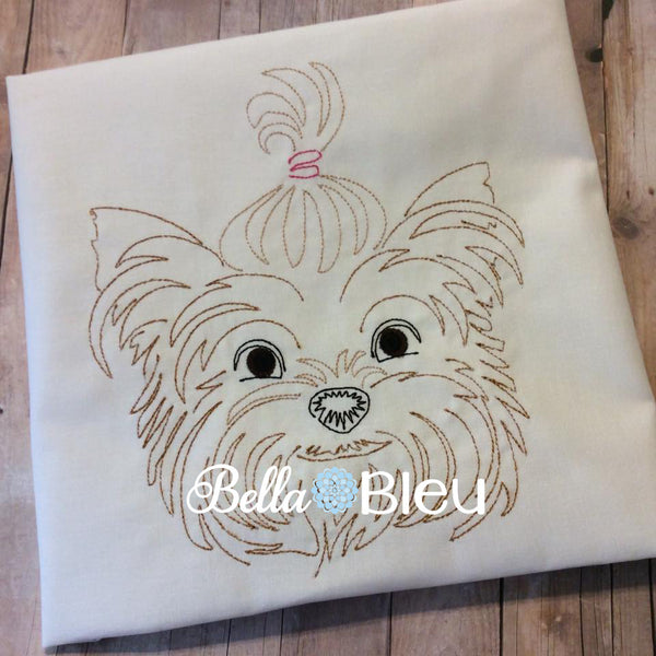 Beautiful Colorwork Redwork Yorkie Dog quick stitch