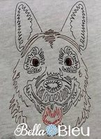 German Shepard  Police Dog quick stitch Beautiful Colorwork Redwork