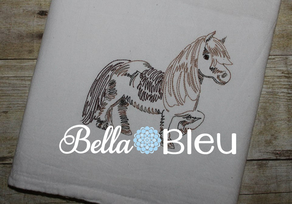 Shetland Pony Horse machine Color work embroidery design