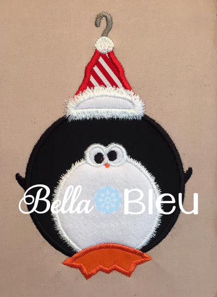 Cute Penguin Christmas Ornament Machine Applique Embroidery Design