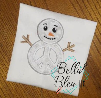 Peace Snowman Applique