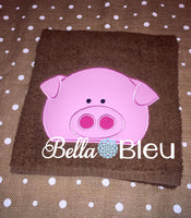 Pig #2 Towel Topper Peeker machine applique embroidery design