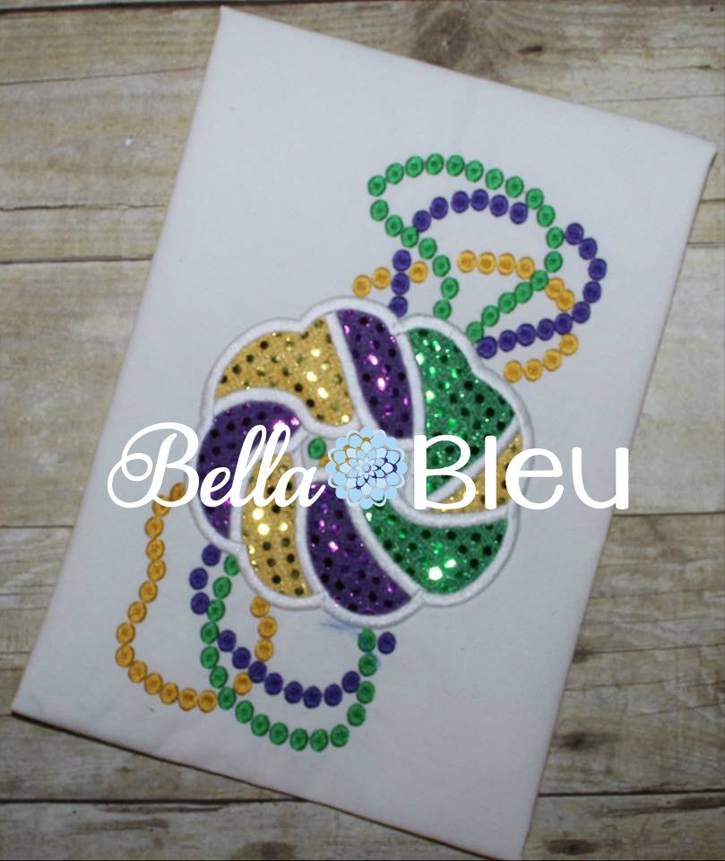 Mardi Gras King Cake with Bead Machine Applique Embroidery design