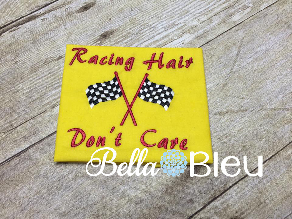 Racing Hair Don't Care Baseball Hat Cap Machine Embroidery Design, Checkered Flag